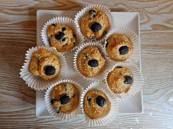 muffins, aceitunas