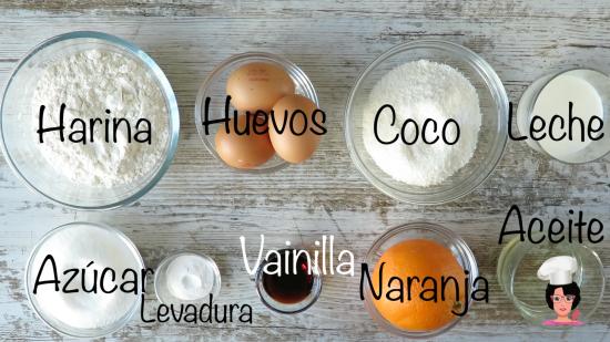 ingredientes pastel de naranja y coco